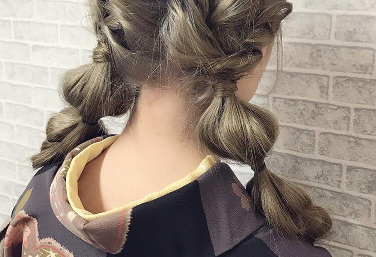 ミディアムヘアの成人式写真の髪型はおろす?アップ?セルフでできる髪型カタログ6