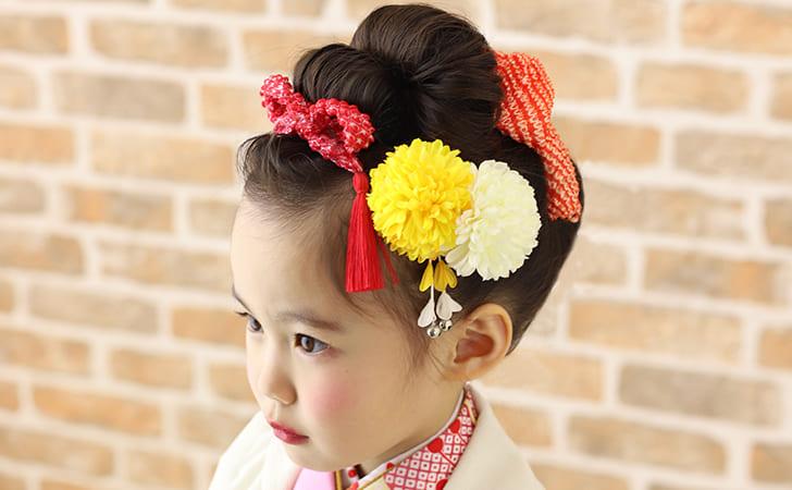3歳の七五三写真の日本髪!桃割れと現代風の日本髪のセット方法を紹介5