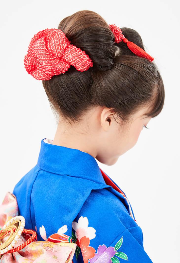 3歳の七五三写真の日本髪!桃割れと現代風の日本髪のセット方法を紹介4