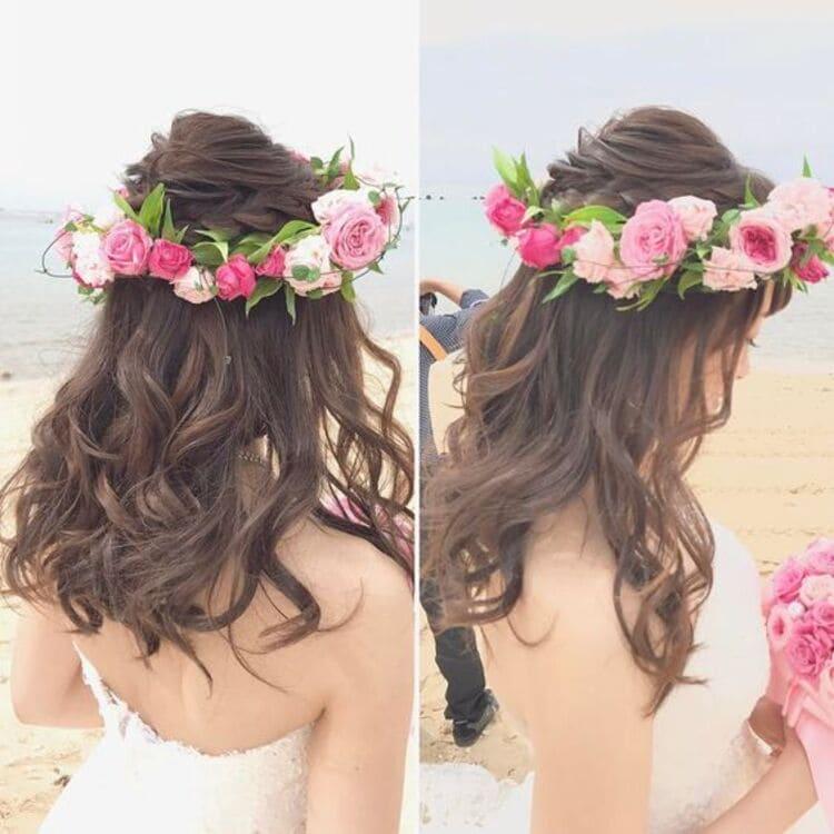 """フォトウェディングは""""花冠""""が人気!花の種類・花言葉・色・髪型を紹介25"""